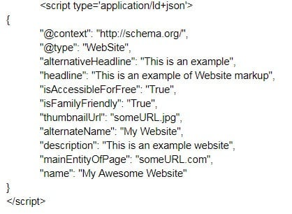 An example of basic Website schema markup